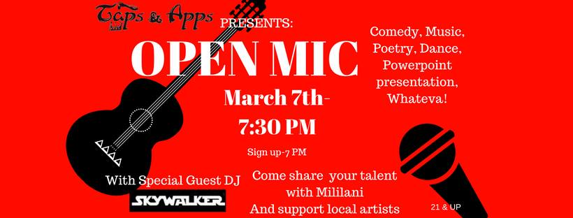 First Wednesdays Open Mic Night