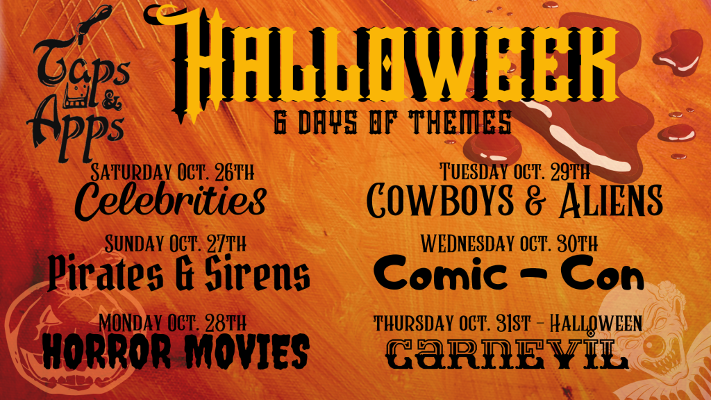 Taps & Apps Presents: Halloweek! 6 Days of Halloween Themes!